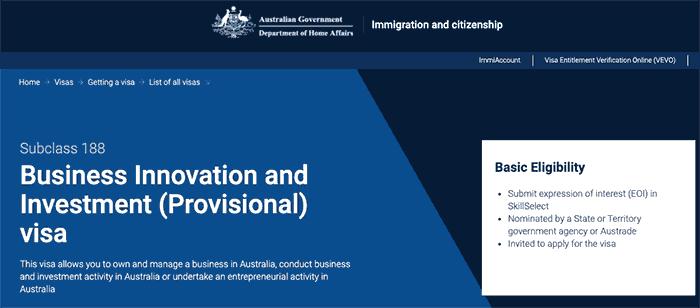 Visa De Inversionista en Australia - Sub-Class 188