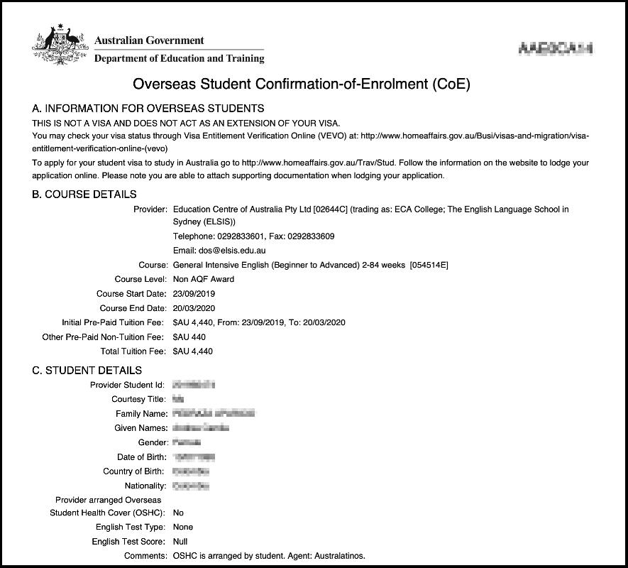 COE - Documento necesario para extender la Visa de Estudiante en Australia